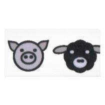 cow pig sheep chicken card