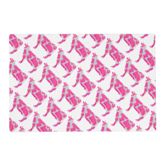 Cow Pink and White Silhouette Placemat