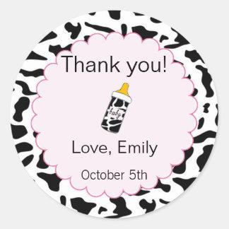 Cow Pink Baby Shower Thank You Label/Sticker Classic Round Sticker