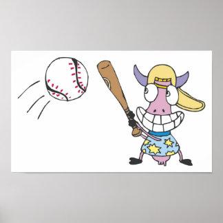 Cow Play Baseball Print