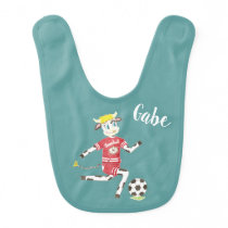 Cow playing soccer personalized bib