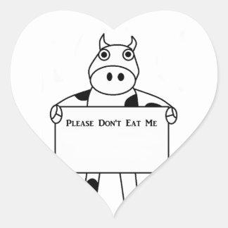 Cow:  Please Don't Eat Me Heart Sticker