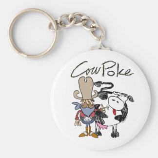 Cow Poke Classic Button Keychain