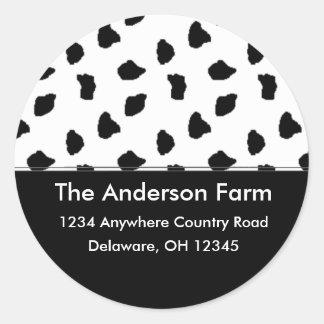 Cow Print Address Labels/Stickers Classic Round Sticker