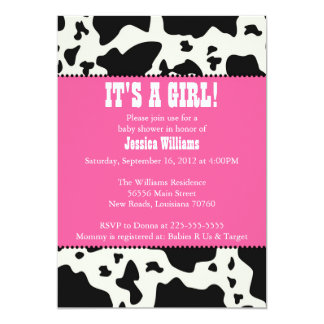 Cow Print Baby Shower 5x7 Paper Invitation Card