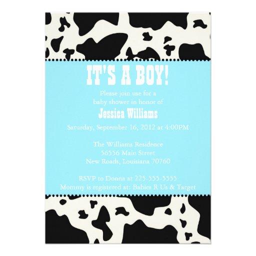 cow print baby shower 5x7 paper invitation card zazzle
