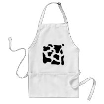 Cow print black and white blotchy pattern adult apron