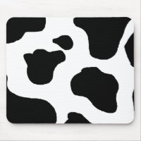 Cow print black and white blotchy pattern mouse pad