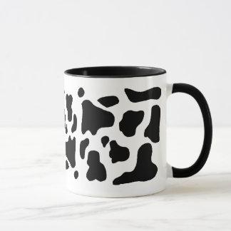 Cow print black and white blotchy pattern mug