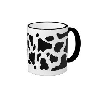 Cow print black and white blotchy pattern ringer mug