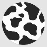 Cow print black and white blotchy pattern classic round sticker