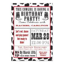 Cow Print Cowgirl Birthday Invitation