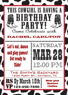Cow print invitations zazzle cow print cowgirl birthday invitation filmwisefo