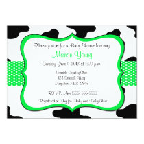Cow Print Green Baby Shower or Birthday Invitation