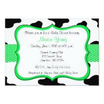 Cow Print Green Baby Shower or Birthday Invitation