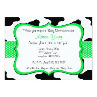 "Cow Print Green Baby Shower or Birthday Invitation 5"" X 7"" Invitation Card"