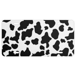 Cow Print License Plate