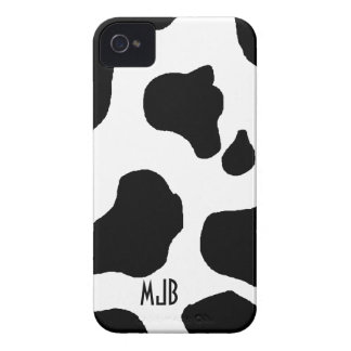 Cow Print Pattern with Initials Blackberry Bold iPhone 4 Case-Mate Case