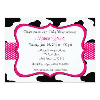 "Cow Print Pink Baby Shower or Birthday Invitation 5"" X 7"" Invitation Card"