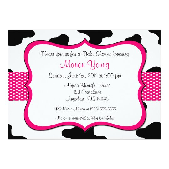 Cow print pink baby shower or birthday invitation zazzle cow print pink baby shower or birthday invitation filmwisefo