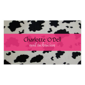 cow print; pink business card
