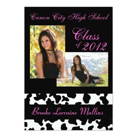 cow print pink graduation announcement zazzle com