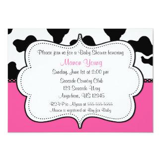 Cow Print Pink Invitaiton 5x7 Paper Invitation Card