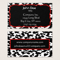Cow Print Red Border Black and White Business Card