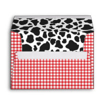 Cow Print, Red Plaid Envelope | A7 Size | 5x7 Card