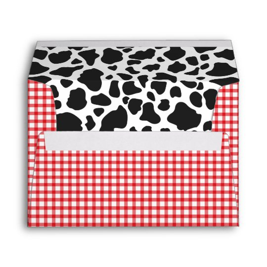 cow print red plaid envelope a7 size 5x7 card zazzle com