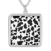 Cow Print Silver Plated Necklace