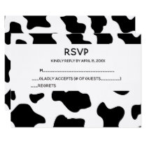 Cow Print Wedding RSVP Cards