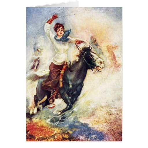 Cow Puncher Girl Greeting Card