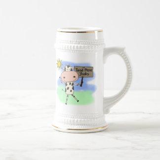 Cow Read More Books 18 Oz Beer Stein