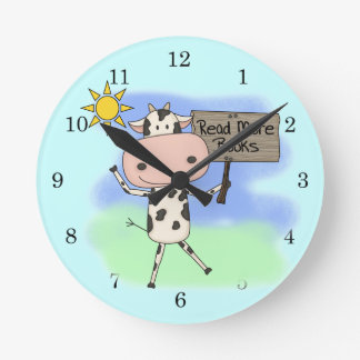 Cow Read More Books Round Clocks