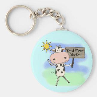 Cow Read More Books Keychain