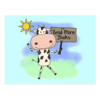 Cow Read More Books Postcard
