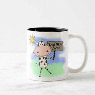 Cow Read More Books Two-Tone Coffee Mug