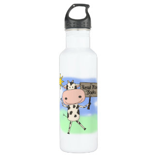 Cow Read More Books Water Bottle