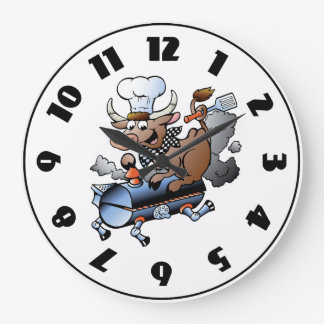 Cow Riding A BBQ Clock