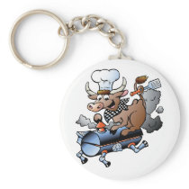 Cow Riding A BBQ Keychain