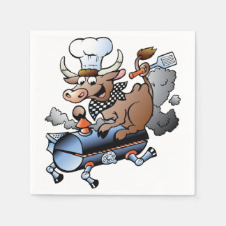 Cow Riding A BBQ Paper Napkins