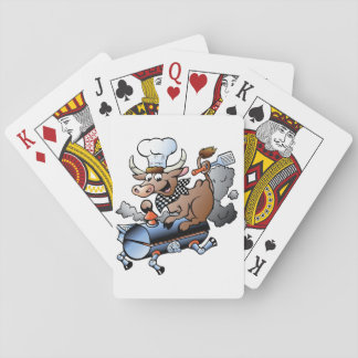 Cow Riding A BBQ Playing Cards