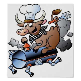 Cow Riding A BBQ Poster