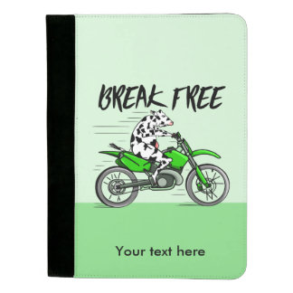 Cow riding a bright green motorbike padfolio