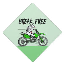Cow riding a bright green motorcycle graduation cap topper