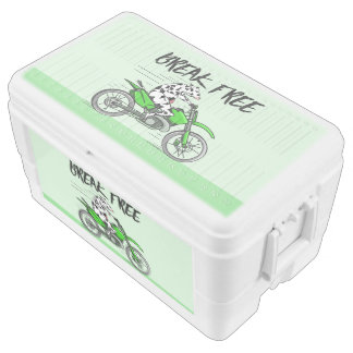 Cow riding a green motor cross bike ice chest