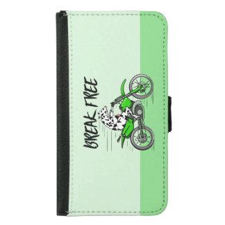 Cow riding a green motor cross bike samsung galaxy s5 wallet case