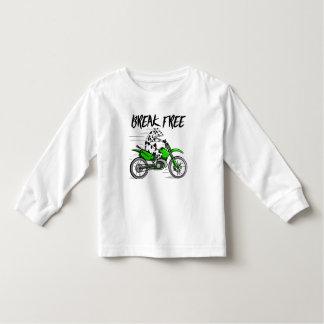 Cow riding a green motor cross bike toddler t-shirt