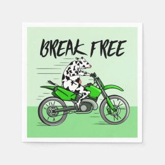Cow riding A Motorbike Paper Napkin